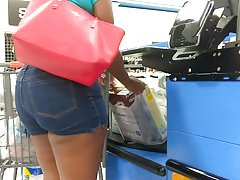 Phat Booty MILF VPL in Jean Shorts (Checkout Line)