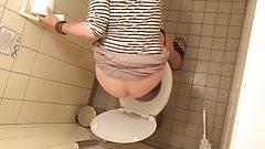 Peeing MILF Toilet Voyeur 8 - HD - Over Stall - Brunette