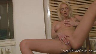 Girlfriend displays her big tits and masturbates