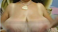 Sweet fat big nippled mature black tits striped on webcam