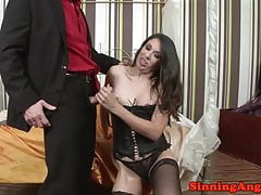 Glam lingerie mature fucked in hairypussy