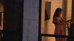 Brunette Again, Friend's Thong Capture Voyeur Window Peep