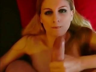 Blonde girlfriend strokes the hard cock for face cum