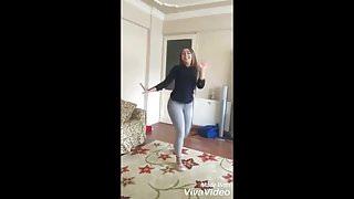 Cute Algerian girl dance in tight jeans