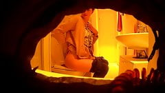Spying cute blonde on the toilet, hidden cam