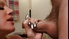 Blonde beauty masturbate and blows with long silver nails