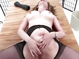 Pussy stretch humiliation - Mature suspender tights pantyhose pussy stretch