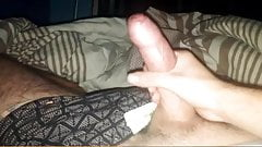 Lad with big uncut cock cums in bed
