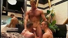 Threesome with two boys sucking one bloke