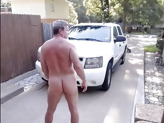 dad gets caught stroking outside his house