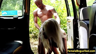Busty british cabbie doggystyle by black guy
