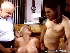 Double Cumshot For Blonde Swinger