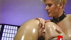 Busty dykes roughen up their pussy and ass with toys