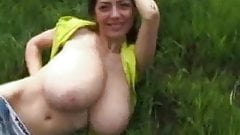 Busty babe flashing your huge natural tits