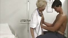 blond nurse used  by two cocks