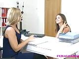 FemaleAgent Sexy casting ends in lesbian lust orgasms