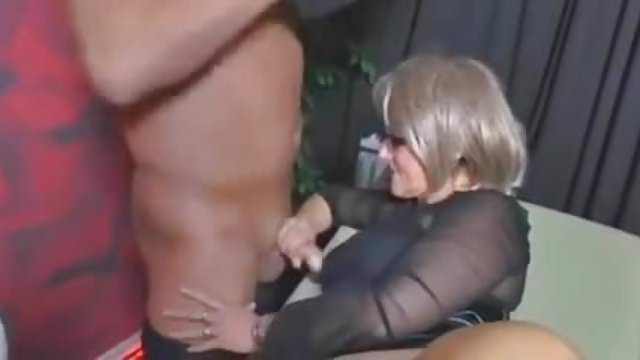 Guy on knees licking pussy as she stands