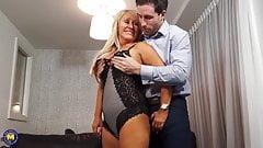 HOT mature mother enjoys big cock