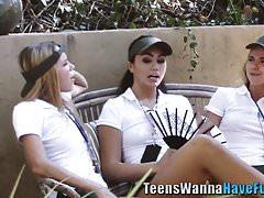 Teen les eats vag outdoor