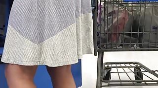 Sundress stuck in white ass crack p5 checkout line