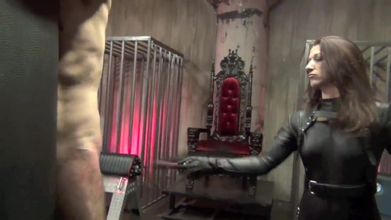 Mature dominatrix whipping slave