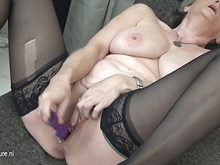 Busty grandma masturbate alone