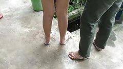 Two female cousins feet