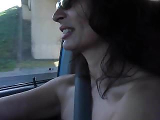 Flashing and pussy play on the highway