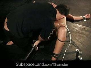 Teen blonde slut hard spanked and deep toyed in sub