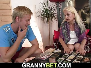 Blonde skinny granny gets her hairy hole drilled