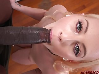Tiny blonde gets her first big black cock