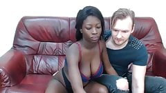 Beautiful black woman fun with white lover