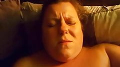 BBW mom with huge boobs plays with toy to orgasm