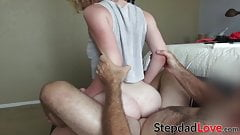 Cute stepdaughter deepthroats dick before being hammered