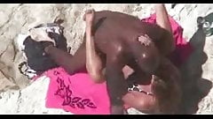 White girl fucks with her black boyfriend at beach voyeur