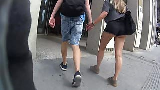 Teen with Boyfriend short Shorts cheeky cheeks!