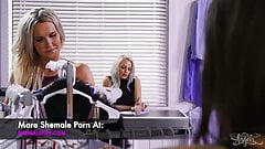 Shemale Kayleigh Coxx gives facial cumshot to a girl