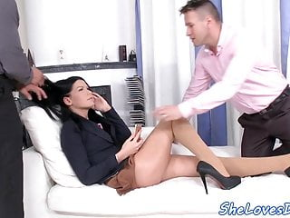 Smalltits DP beauty sucks and rides dicks