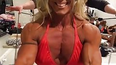 hot muscle woman in red bikini