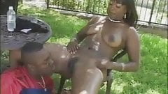 Black Babe Strips And Gets Her Pussy Licked