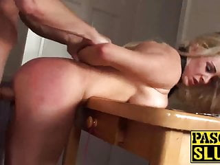 Amazing handcuffed blonde slut VIctoria fucked from behind
