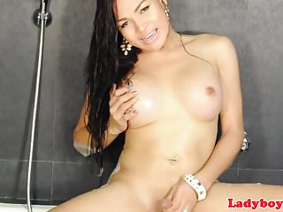 Preview 6 of Busty asian ladyboy wanking in the shower