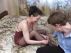 Russian Nylon Mature with young Guy