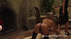 Lesbian Slave In Chains Fingered And Spanked From Behind