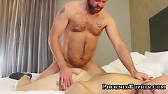 Papa bear pounding young cub until he makes him cum