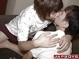 Young gay licks nipples before ass fuck by Japanese twink