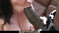 Big tits brunette in fishnets rides big black dick