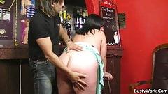 Huge barmaid riding cock at work