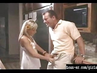 Hot Blondle Teen gives great handjob in kitchen
