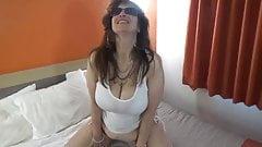 Tinja Stretches A White T Top And Bikini Bottom